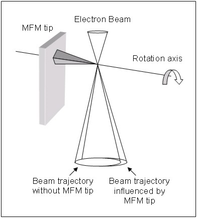 Fig. 2. Schematic of the differential phase contrast imaging technique of Lorentz microscopy applied to a MFM tip (McVitie et al. [2603]). This imaging mode is implemented on a scanning transmission electron microscope.