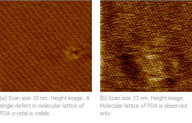 Fig. 1. (a) Height image of polydiacetylene crystal obtained with Dimension 5000 SPM microscope and Hi-Res-C probe; (b) Topography image of polydiacetylene crystal obtained with Agilent 5500 SPM microscope and DP14 probe. Image courtesy of Dr. S. Magonov (Agilent).