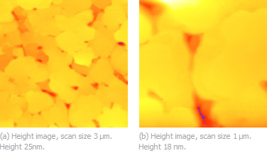 Figures 1a-b. Topography images of Au (111) sample showing multiple terraces with atomically-smooth surfaces. Height scale from blue to yellow.