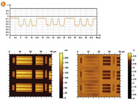"Fig. 2b. Topography (left) and surface potential (right) images of a SRAM structure obtained by single-path Kelvin Force Microscopy. A novel DPE14 probe was used."" Image courtesy of S. Magonov, Agilent Technologies"